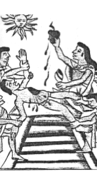Astek Rahipleri güneş tanrısına kurban ettikleri gencin çıkardıkları kalbini ona hediye ediyor. (Florentina Codex, 1550 American Museum of Natural History) (J.A.H)